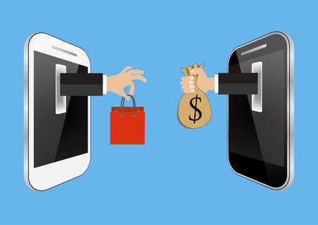 online marketing: E-commerce or online shopping concept with hands reaching out of a computer screen holding a shopping bag and  money bag