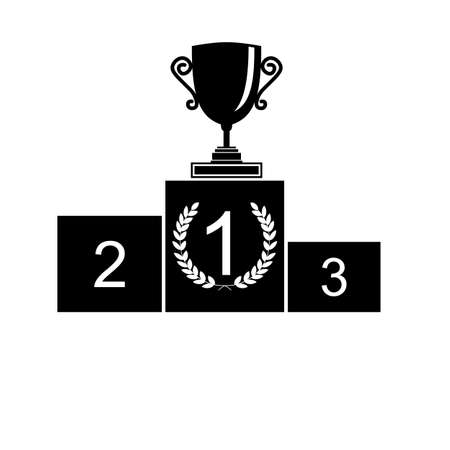 second prize: Trophy Cup on prize podium. First, second and third place  Champions or winners Infographic elements. Black Vector illustration on white background.