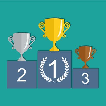 triunfador: Oro, Plata y Bronce Trofeo de la Copa de premio podio. Premio del primer lugar. Campeones o ganadores elementos de Infografía. Ilustración del vector. Vectores