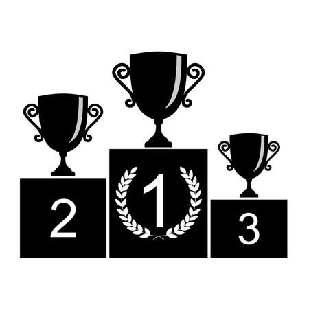 winner: Trophy Cup on prize podium. First, second and third place award. Champions or winners Infographic elements. Black Vector illustration on white background.