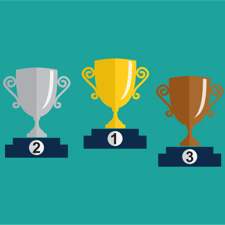 Gold, Silver and Bronze Trophy Cup on prize podium. First place award. Champions or winners Infographic elements. Vector illustration. Illustration