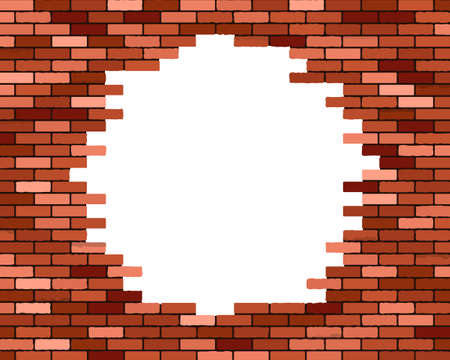 with holes: Broken brick wall, vector eps10 illustration