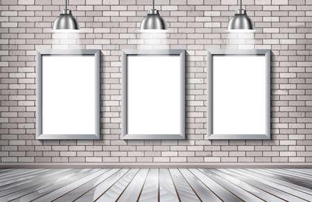 spotlight: Gallery interior with blank billboard and spotlight poster vector illustration