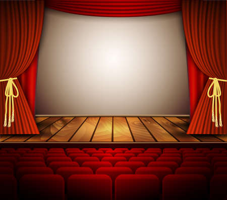 red stage curtain: A theater stage with a red curtain, seats. Vector.