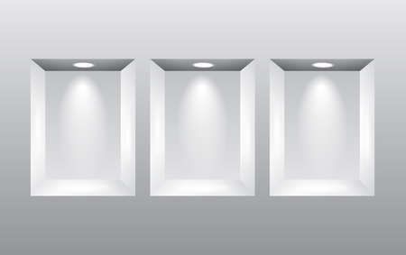 niches: Empty niches in wall with spot lights photo realistic vector background