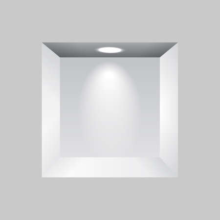 niche: Gray niche for presentations with light lamps Illustration