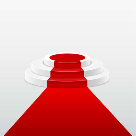 stepped: Round stepped white podium with red carpet. Vector illustration Illustration