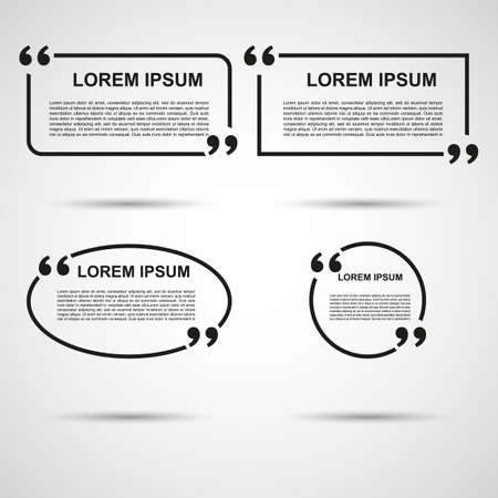 mention: Quote blank template. Quote bubble. Empty template. Circle business card template, paper sheet, information, text. Print design. Quote form. Template vector set