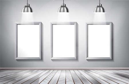 gallery interior: Gallery interior with blank billboard and spotlight poster vector illustration