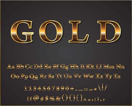 letras de oro: Vector letras de oro brillantes fondo oscuro vector Vectores
