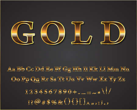 shiny gold: Vector shiny gold letters dark background vector