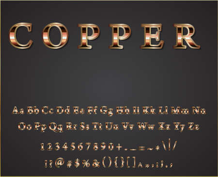 shiny background: Vector shiny copper  letters dark background vector