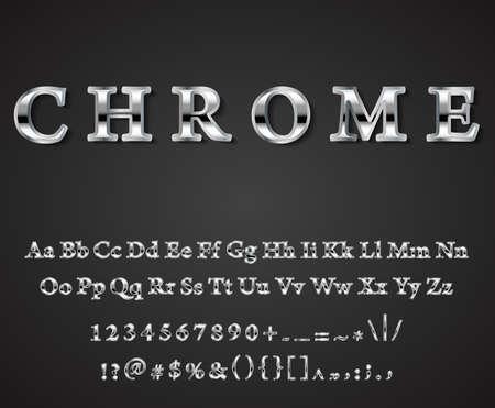 dark chrome: Vector shiny chrome  letters dark background vector Illustration
