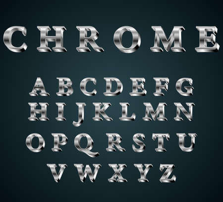 typeset: Vector illustration of chrome 3D alphabet. FONT Illustration