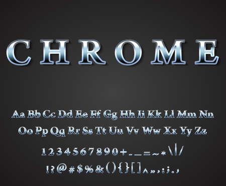 chrome: Vector shiny chrome  letters dark background vector Illustration