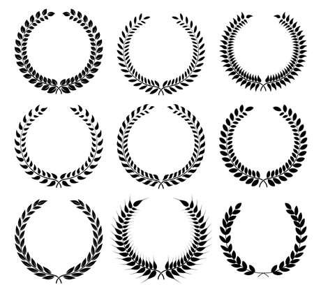 symbol sport: Set Lorbeerkranz - Symbol des Sieges und Leistung. Design-Element für den Bau von Medaillen, Auszeichnungen, Wappen oder Jubiläumslogo. Schwarze Silhouette auf weißem Hintergrund. Lorbeerkranz Ikone