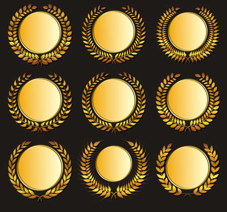 win win: Set Vector gold medal and laurels on dark background.  Design element for construction of medals, awards, coat of arms or anniversary logo.
