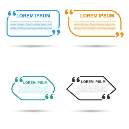 utterance: Quote blank template. Quote bubble. Empty template. Circle business card template, paper sheet, information, text. Print design. Quote form. Template vector set. Quotation Speech banner. Illustration