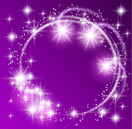 輝き星の背景の紫色に輝くラウンド フレーム