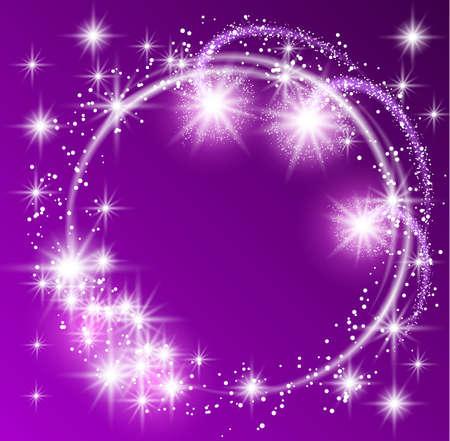 Glowing purple background with sparkle stars round frame