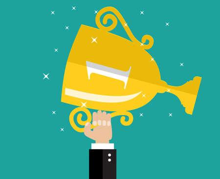 ganador: Mano que sostiene la concesi�n del trofeo de ganador. vector Ilustraci�n plana
