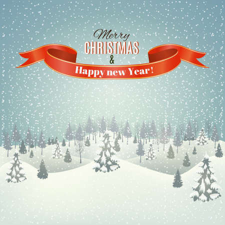 desember: New year and Christmas winter landscape background. Vector. Illustration
