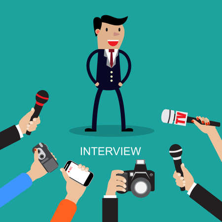 interrogative: Media conducting a press interview with a businessman answering questions  to a row of hands holding microphones vector illustration