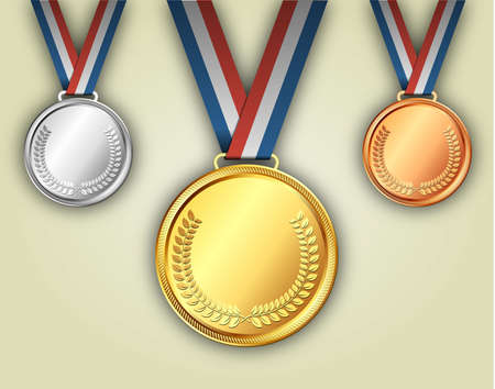 gold silver: Gold silver and bronze medals on ribbons with shiny metallic surfaces. placement in a sporting competition contest or business challenge Illustration