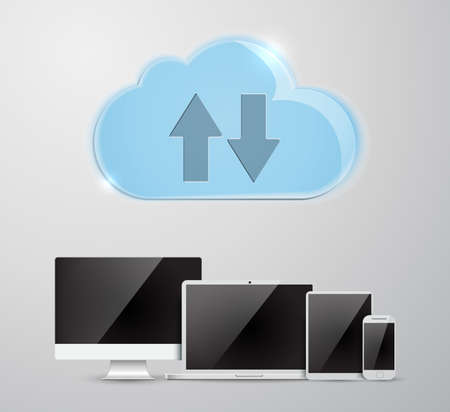 Cloud computing Network Connected all Devices.  vector illustration