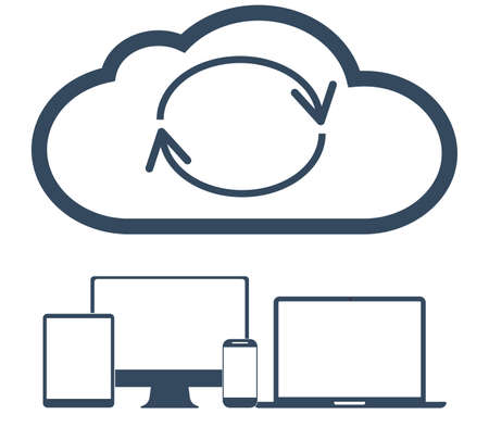 electronic tablet: Cloud computing Network Connected all Devices. Flat design.