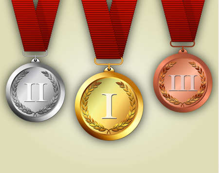 placement: Gold silver and bronze medals on ribbons with shiny metallic surfaces and Roman numerals for one two and three for a win and placement in a sporting competition contest or business challenge Illustration