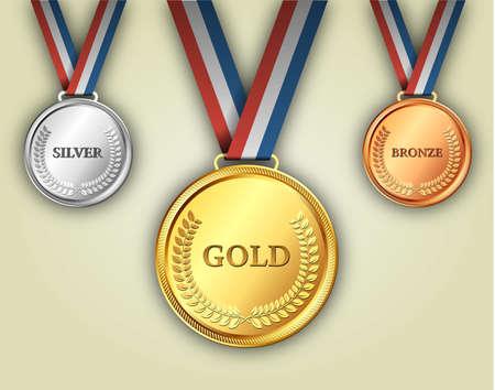 Zestaw medale złote, srebrne i brązowe na wstążce z ulgą szczegółów wieńcem laurowym. ilustracji wektorowych