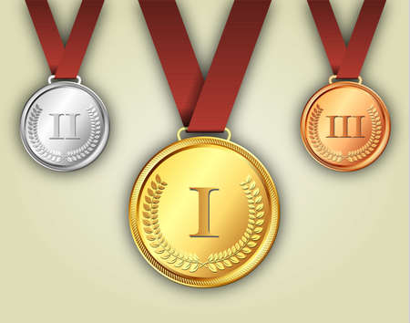 Gold silver and bronze medals on ribbons with shiny metallic surfaces and Roman numerals for one two and three for a win and placement in a sporting competition contest or business challenge Illustration