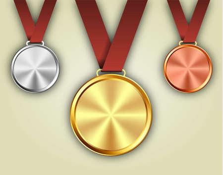 赤いリボンに金・銀・銅メダルのセット。ベクトル図