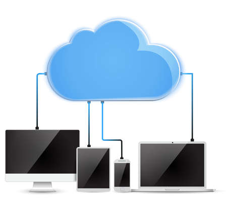 synchronizing: Cloud computing Network Connected all Devices.  vector illustration