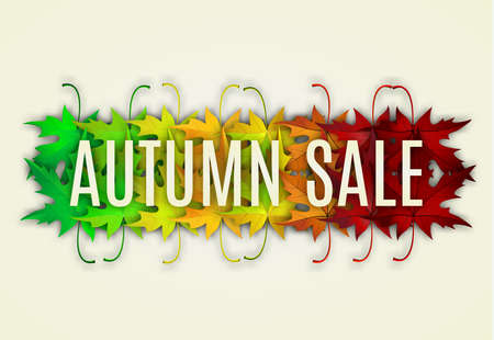Fall sale design. Can be used for flyers, banners or posters. Vector illustration with colorful autumn leaves