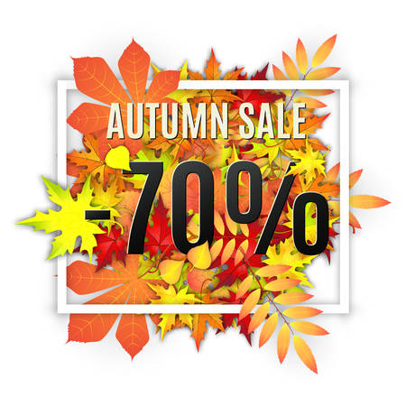 Autumn typographical background with autumn leaves. Autumn typographic. Fall leaf. Autumn sale -70 discount vector banner