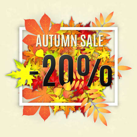 autumn: Autumn typographical background with autumn leaves. Autumn typographic. Fall leaf. Autumn sale -20 discount vector banner Illustration