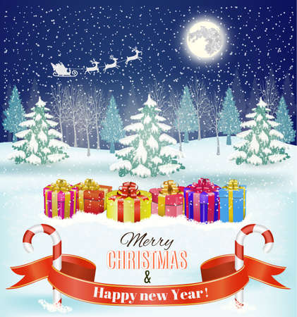 cane: Holiday Christmas and  new year background with a gift boxes and candy cane. Vector. Illustration
