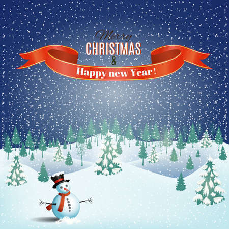 desember: New year and Christmas winter landscape background with snowman. Vector. Illustration