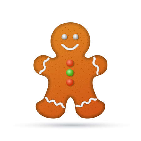 gingerbread cookie: Gingerbread man isolated on white background, illustration.