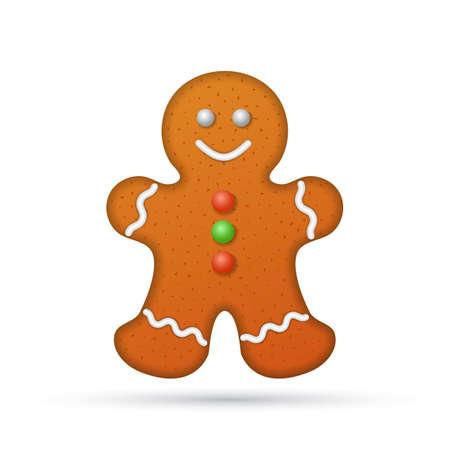 uomo rosso: Gingerbread uomo isolato su sfondo bianco, illustrazione.