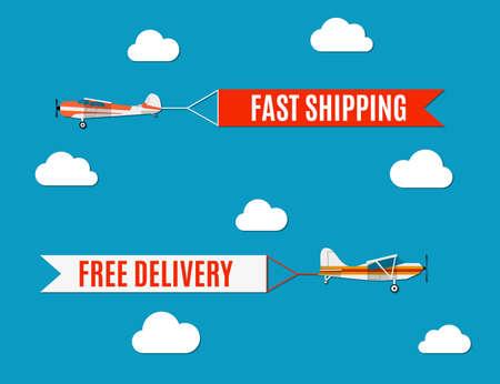 Vector moderne platte conceptontwerp op vliegende reclame banners getrokken door licht vliegtuig Stock Illustratie