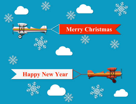 plane: Vector modern flat concept design on flying merry christmas and happy new year banner pulled by light plane.