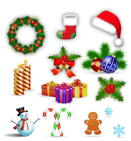 christmas candy: Merry Christmas design elements, vector illustration.  Christmas icons set. Christmas candy cane with red bow. Gingerbread man, candle, holly, socks, snowflake, ball, hat, wreath , snowman, giftbox. Illustration