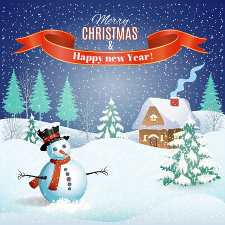 rural scene: New year and Christmas winter landscape background with snowman. Vector illustration