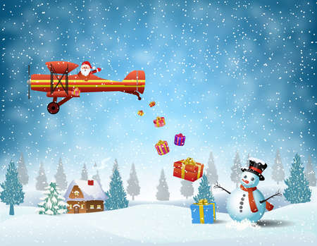 light plane with Santa claus  fly over the forest, house, snowman and throws gifts . . Christmas card,invitation,background,design template. Illustration