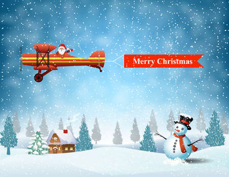 the snowman: light plane with Santa claus  fly over the forest, house, snowman and pulled merry christmas banner .  Christmas card,invitation,background,design template.