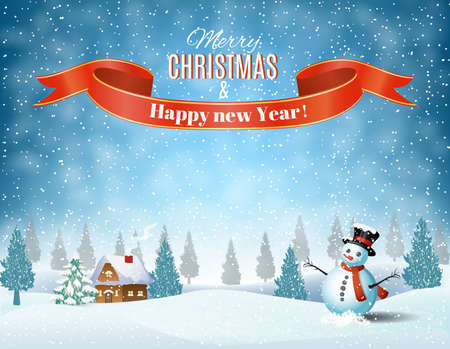 cartoon present: New year and Christmas winter landscape background with snowman. Vector illustration