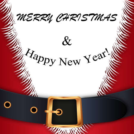 gold buckle: Merry Christmas background. Red Santa Claus suit, leather belt with gold buckle, white beard, concept for greeting or postal card, vector illustration